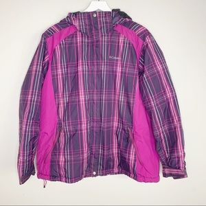 Columbia Pink & Purple Puffer Hooded Jacket 2X